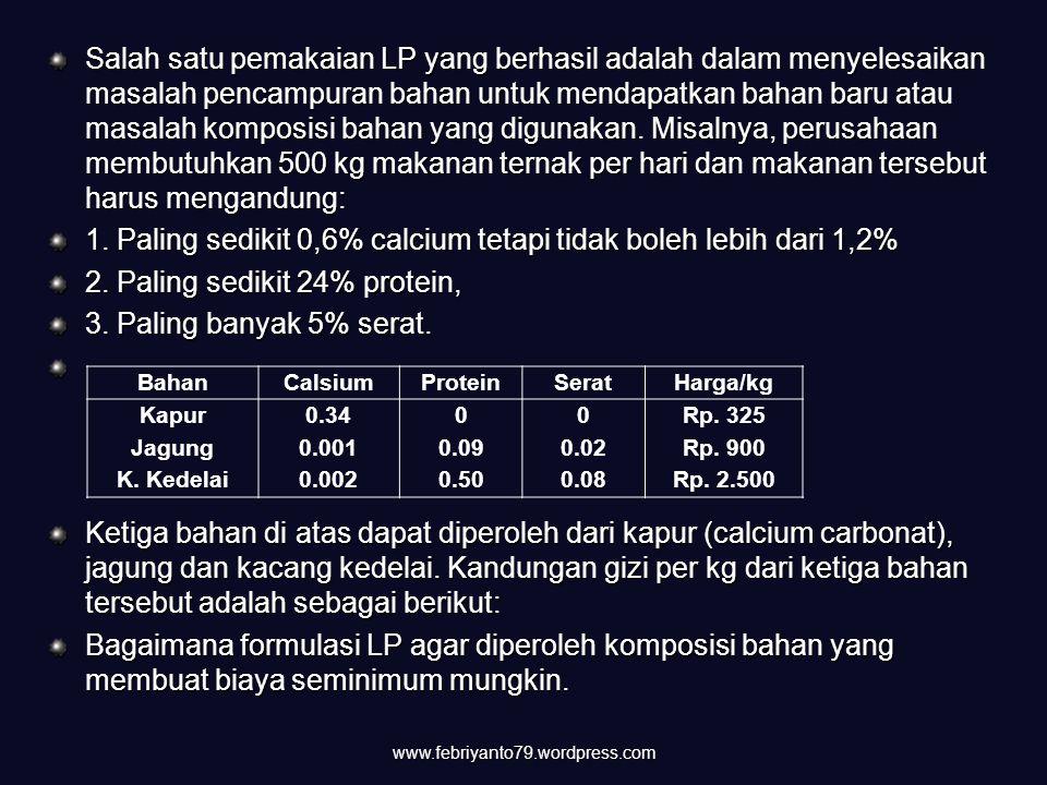 1. Paling sedikit 0,6% calcium tetapi tidak boleh lebih dari 1,2%