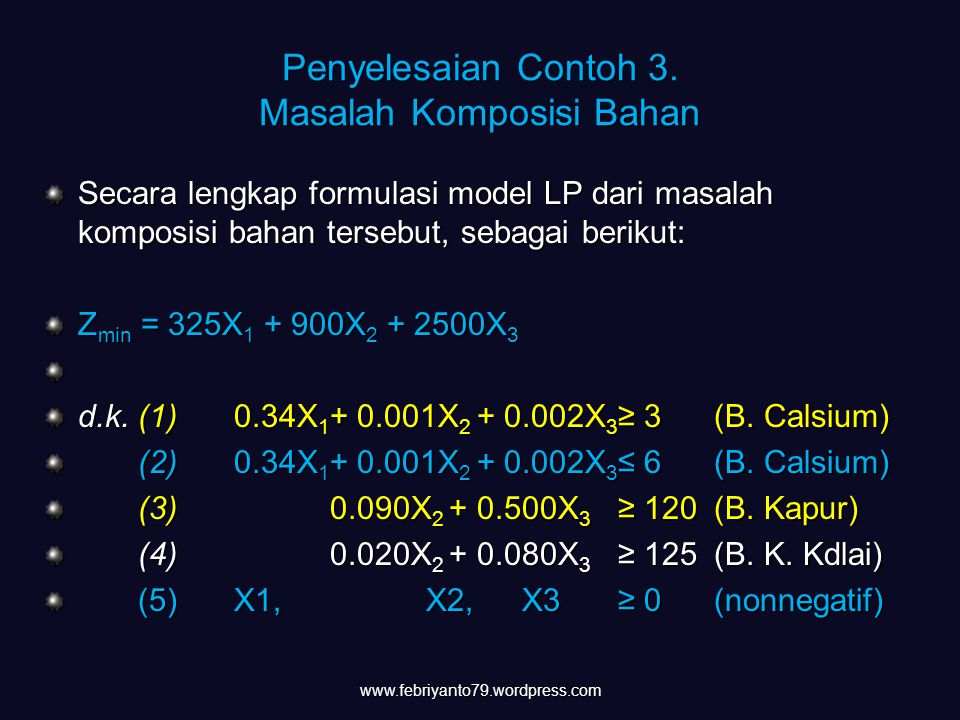 Penyelesaian Contoh 3. Masalah Komposisi Bahan