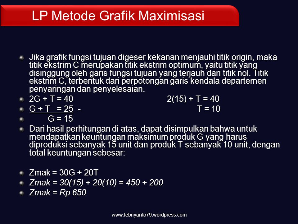 LP Metode Grafik Maximisasi