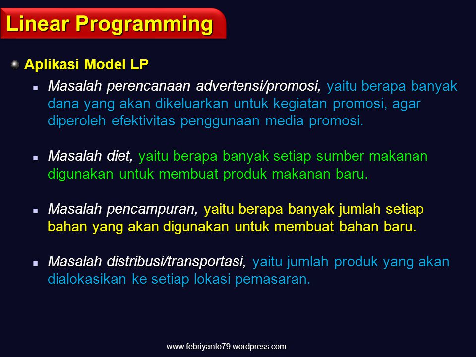 Linear Programming Aplikasi Model LP