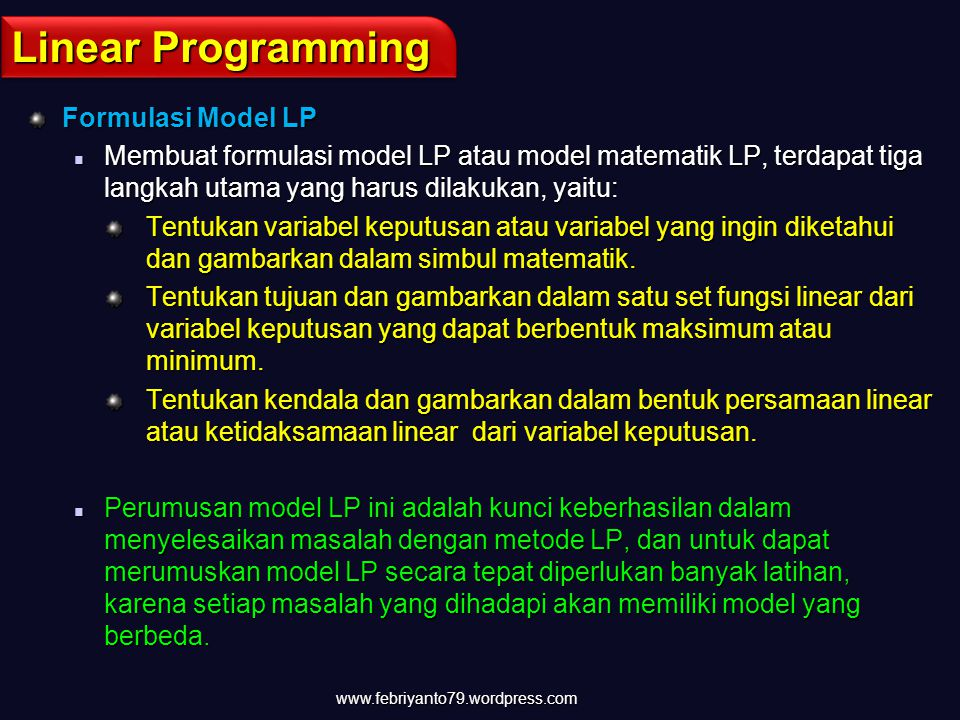 Linear Programming Formulasi Model LP