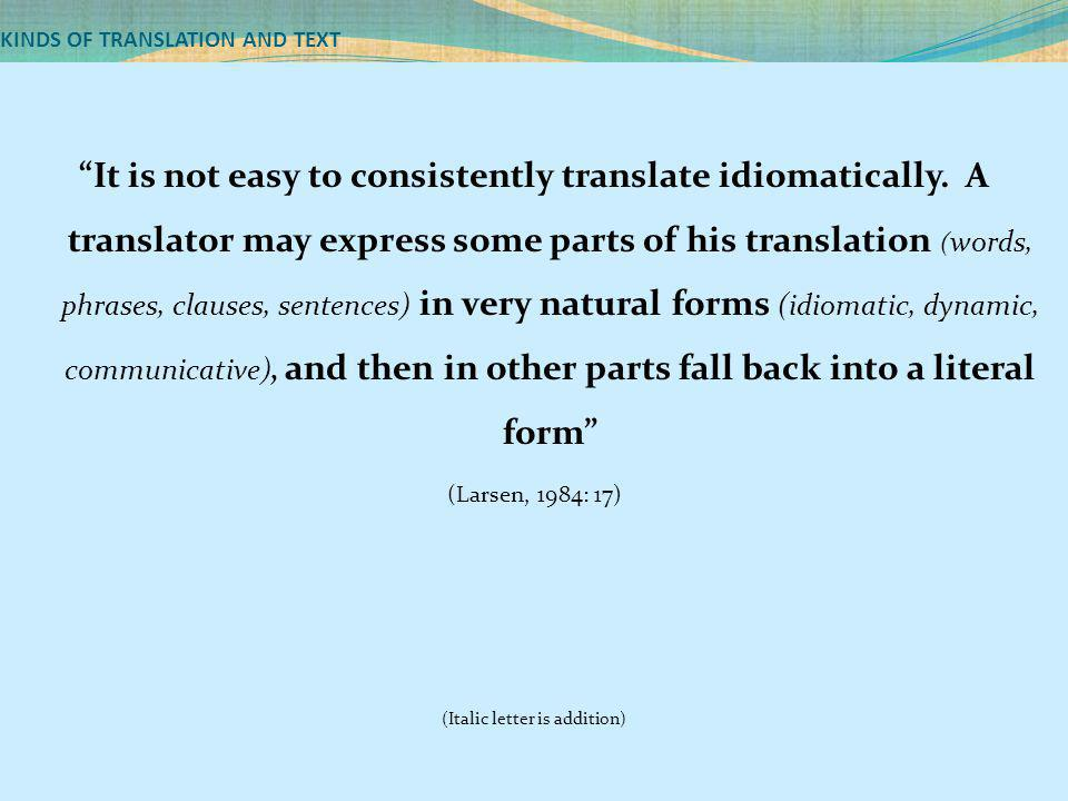 KINDS OF TRANSLATION AND TEXT