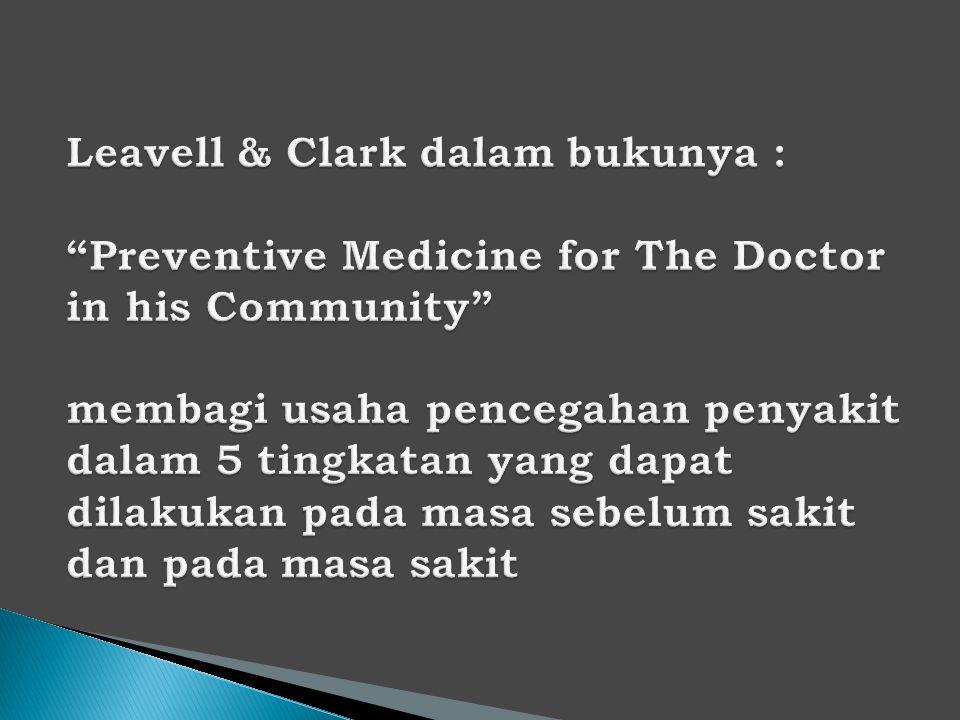 Leavell & Clark dalam bukunya : Preventive Medicine for The Doctor in his Community membagi usaha pencegahan penyakit dalam 5 tingkatan yang dapat dilakukan pada masa sebelum sakit dan pada masa sakit