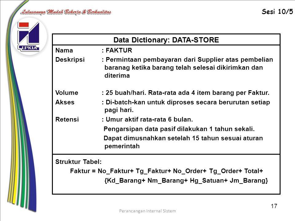 Data Dictionary: DATA-STORE