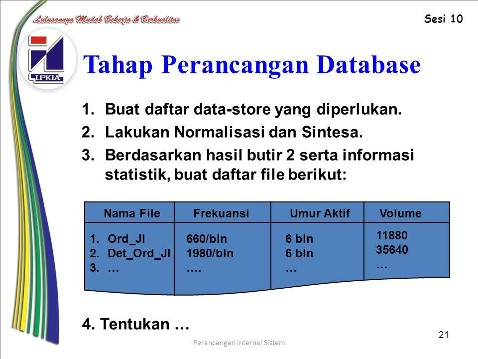 Tahap Perancangan Database