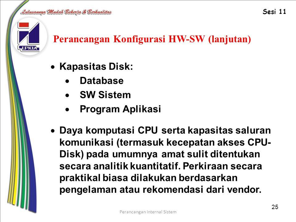 Perancangan Konfigurasi HW-SW (lanjutan)
