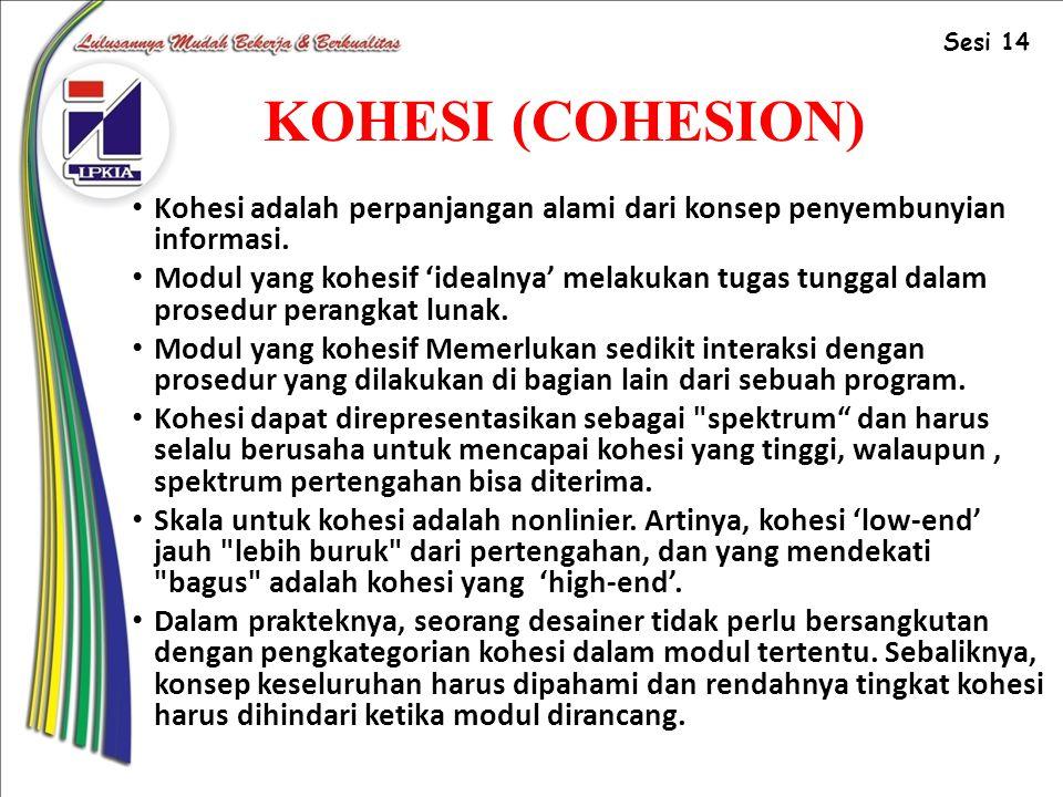 Sesi 14 KOHESI (COHESION) Kohesi adalah perpanjangan alami dari konsep penyembunyian informasi.