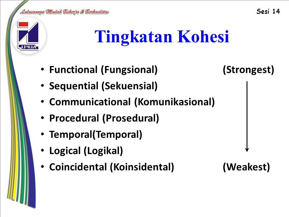 Tingkatan Kohesi Functional (Fungsional) Sequential (Sekuensial)