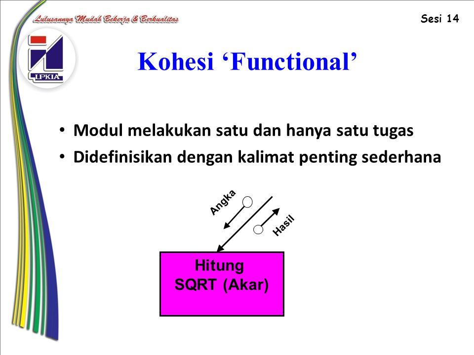 Kohesi 'Functional' Modul melakukan satu dan hanya satu tugas
