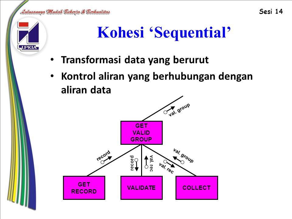 Kohesi 'Sequential' Transformasi data yang berurut