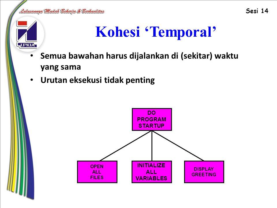 Sesi 14 Kohesi 'Temporal' Semua bawahan harus dijalankan di (sekitar) waktu yang sama. Urutan eksekusi tidak penting.