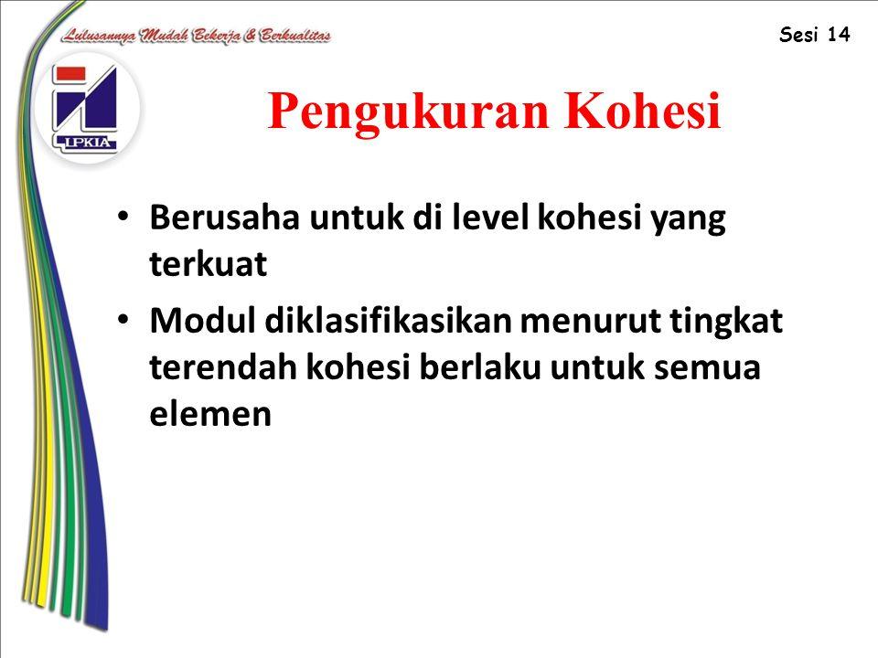 Pengukuran Kohesi Berusaha untuk di level kohesi yang terkuat