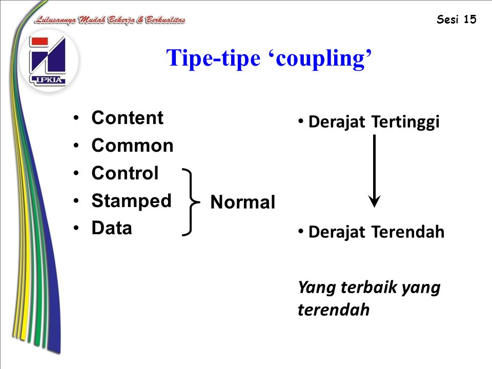 Tipe-tipe 'coupling' Content Derajat Tertinggi Common Control Stamped