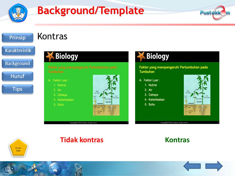 Background/Template Kontras Tidak kontras Kontras