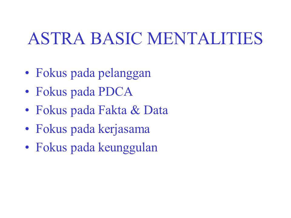ASTRA BASIC MENTALITIES