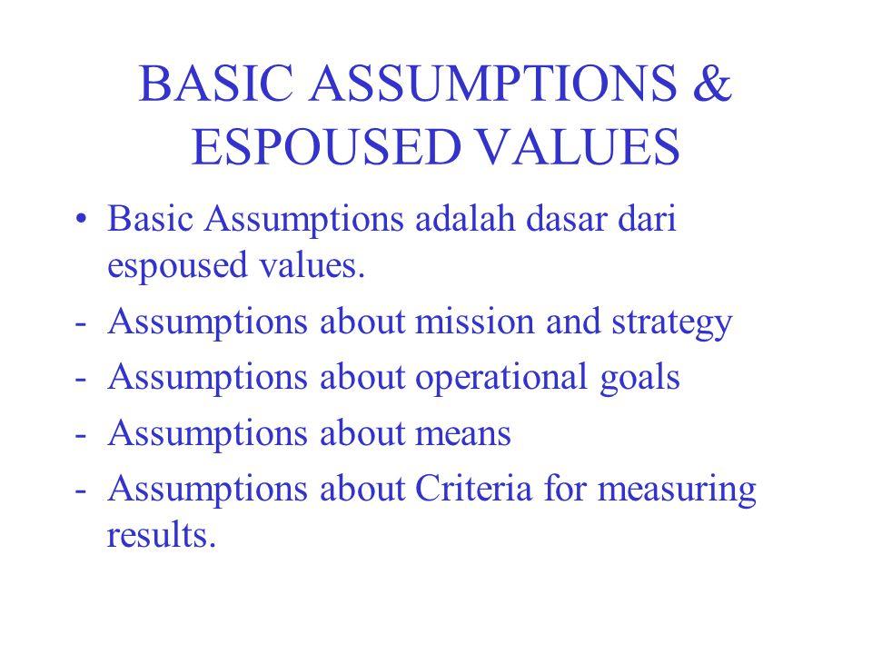 BASIC ASSUMPTIONS & ESPOUSED VALUES