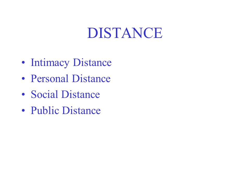 DISTANCE Intimacy Distance Personal Distance Social Distance