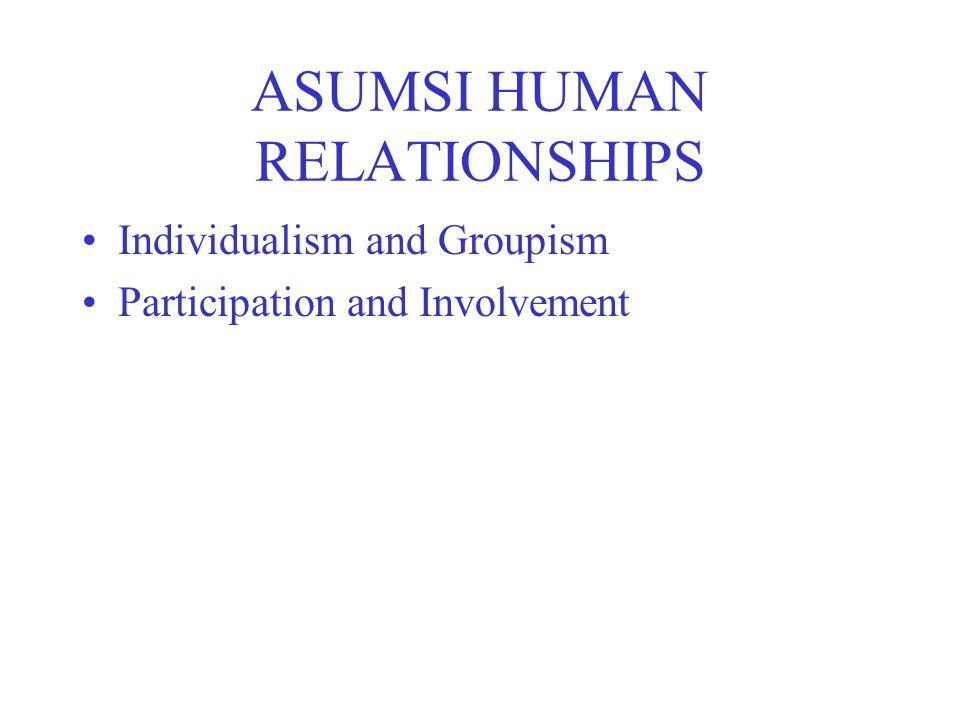 ASUMSI HUMAN RELATIONSHIPS