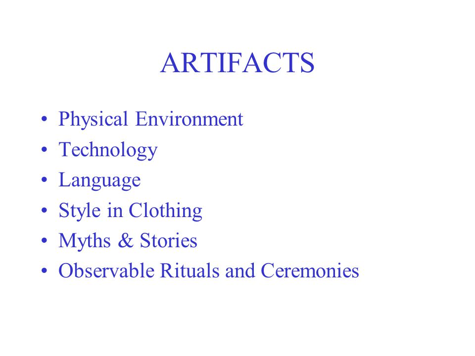 ARTIFACTS Physical Environment Technology Language Style in Clothing