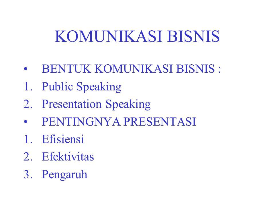 KOMUNIKASI BISNIS BENTUK KOMUNIKASI BISNIS : Public Speaking