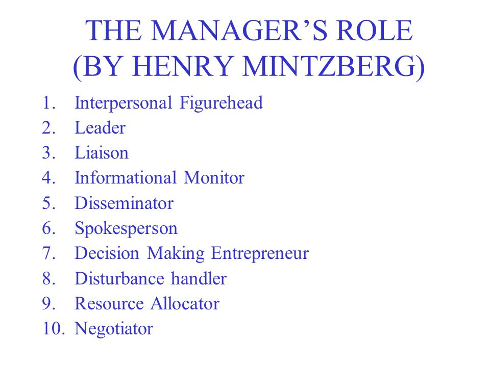 THE MANAGER'S ROLE (BY HENRY MINTZBERG)