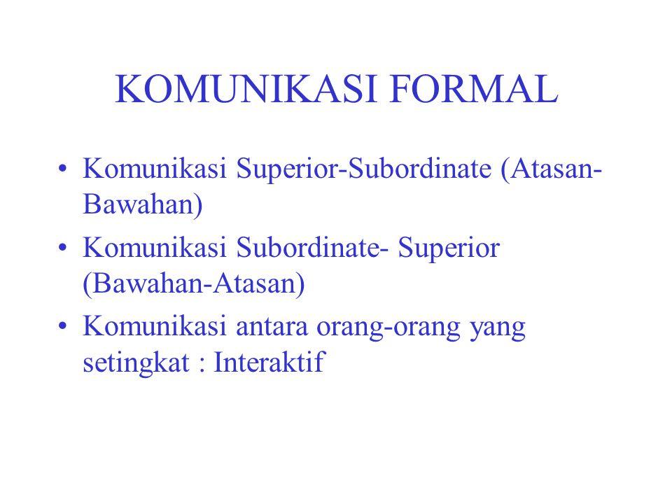 KOMUNIKASI FORMAL Komunikasi Superior-Subordinate (Atasan-Bawahan)