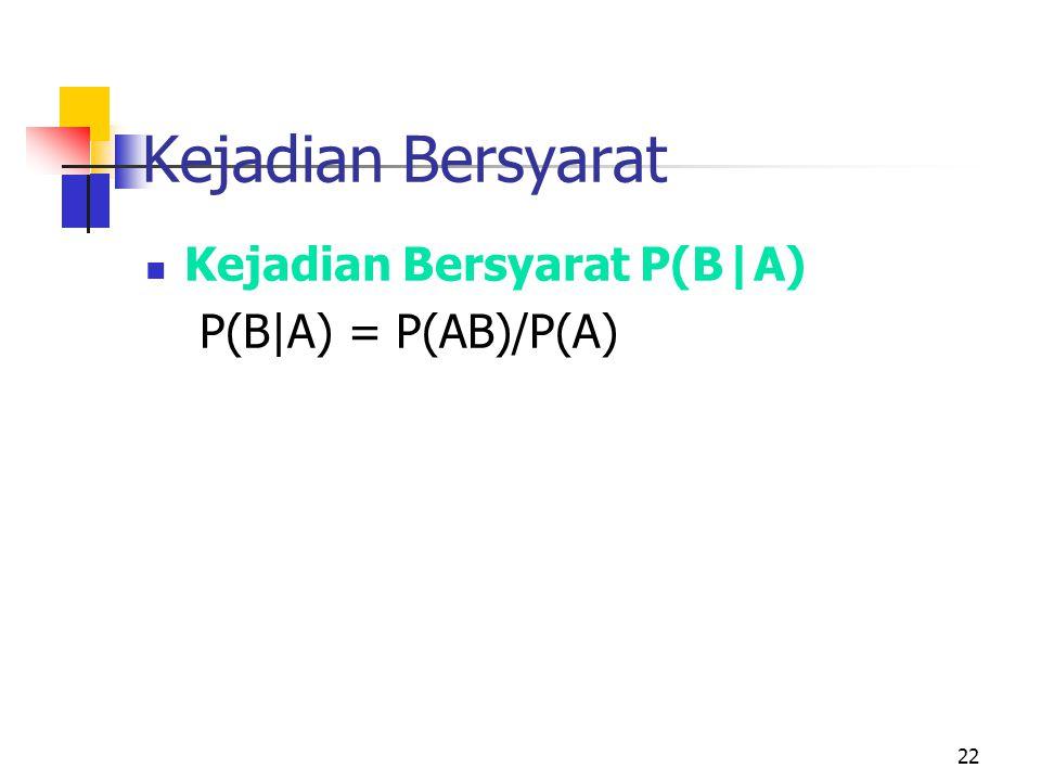Kejadian Bersyarat Kejadian Bersyarat P(B|A) P(B|A) = P(AB)/P(A)