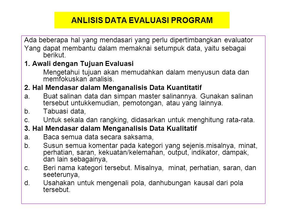 ANLISIS DATA EVALUASI PROGRAM