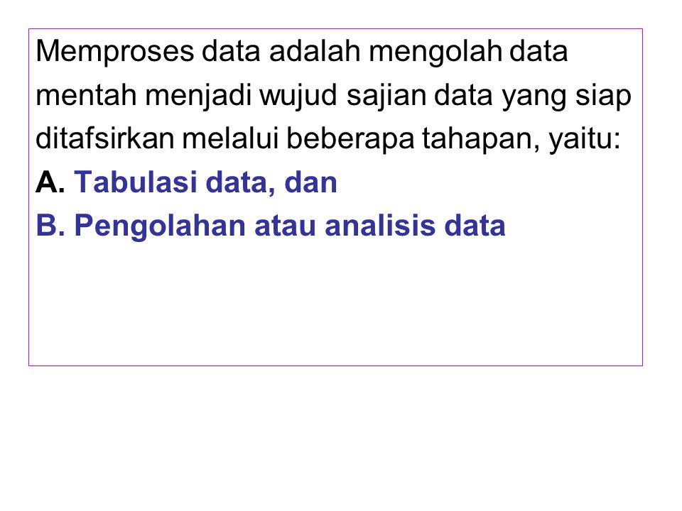 Memproses data adalah mengolah data