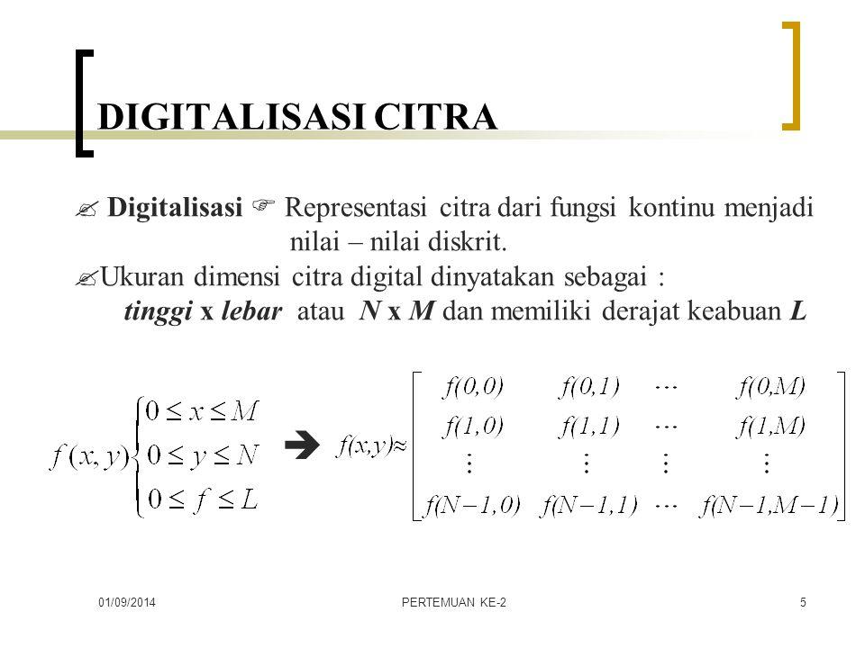 DIGITALISASI CITRA  Digitalisasi  Representasi citra dari fungsi kontinu menjadi. nilai – nilai diskrit.
