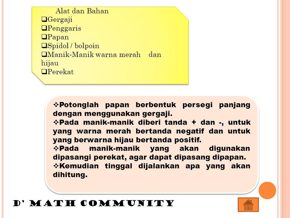 D' MATH COMMUNITY Alat dan Bahan Gergaji Penggaris Papan