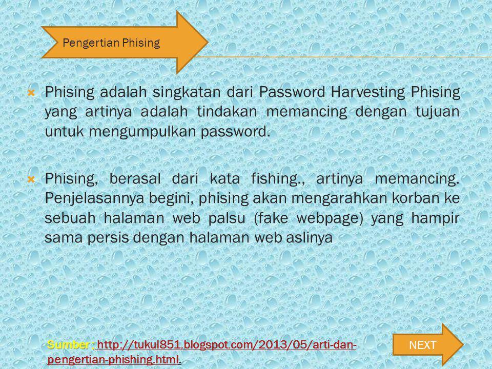 Phising adalah singkatan dari Password Harvesting Phising yang artinya adalah tindakan memancing dengan tujuan untuk mengumpulkan password.