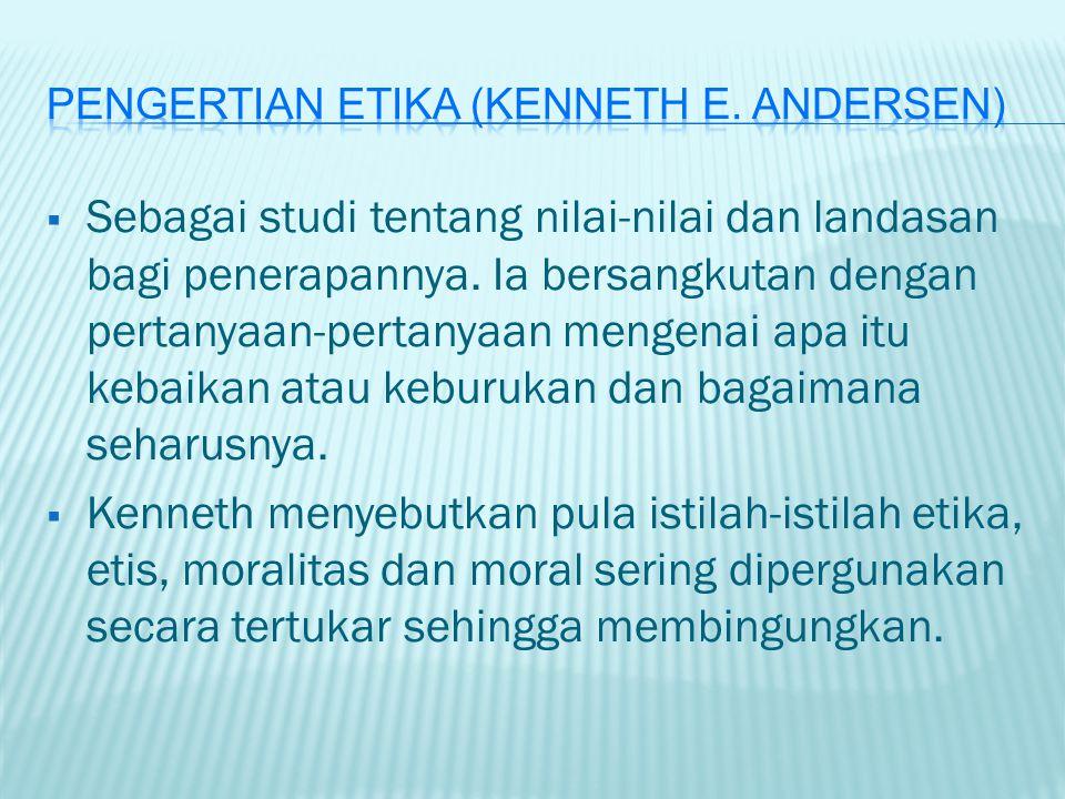 Pengertian etika (Kenneth E. Andersen)