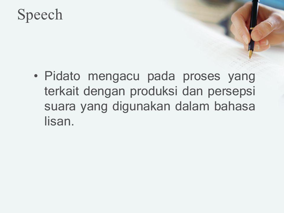 Speech Pidato mengacu pada proses yang terkait dengan produksi dan persepsi suara yang digunakan dalam bahasa lisan.