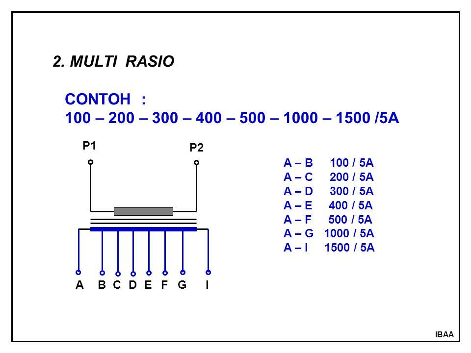 MULTI RASIO CONTOH : 100 – 200 – 300 – 400 – 500 – 1000 – 1500 /5A P1