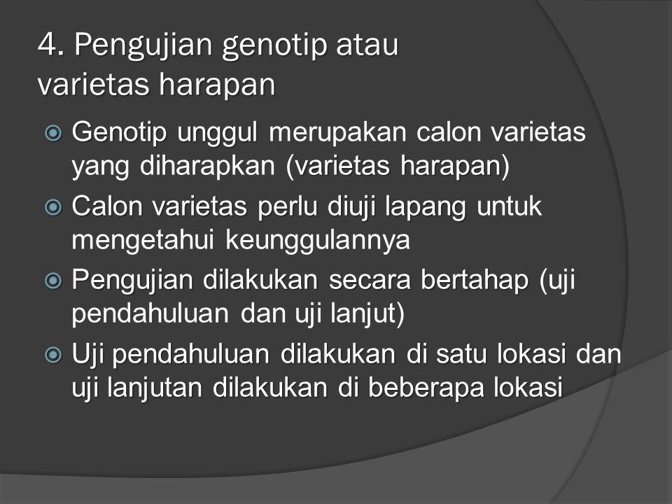4. Pengujian genotip atau varietas harapan