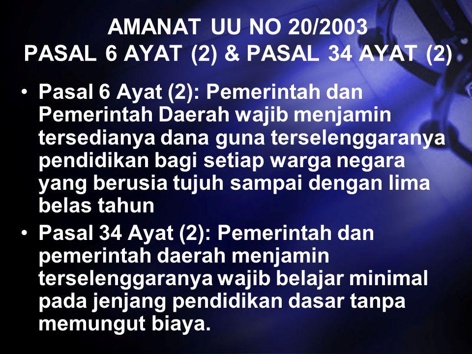AMANAT UU NO 20/2003 PASAL 6 AYAT (2) & PASAL 34 AYAT (2)