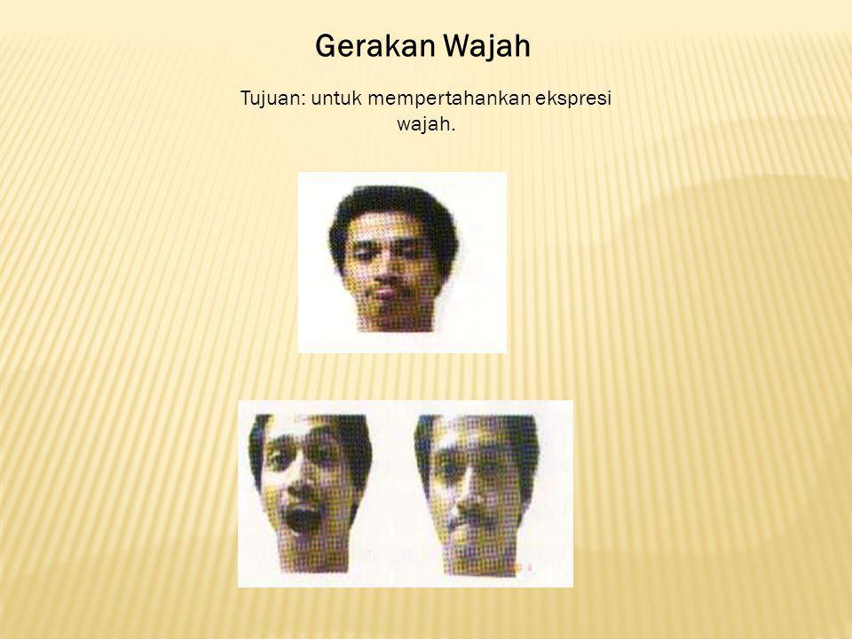 Tujuan: untuk mempertahankan ekspresi wajah.