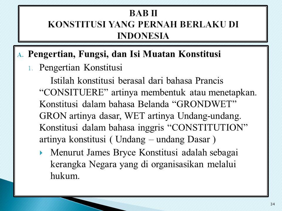 BAB II KONSTITUSI YANG PERNAH BERLAKU DI INDONESIA