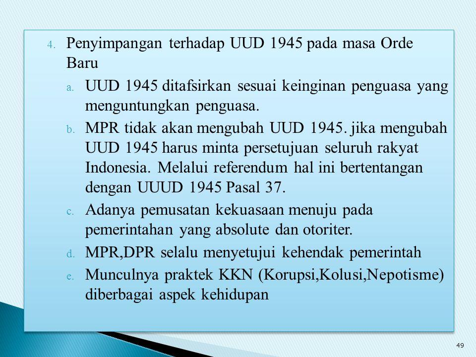 Penyimpangan terhadap UUD 1945 pada masa Orde Baru