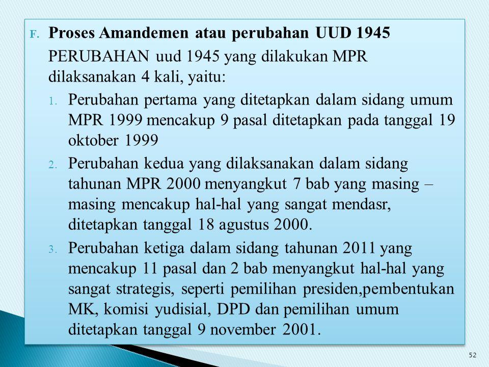 Proses Amandemen atau perubahan UUD 1945