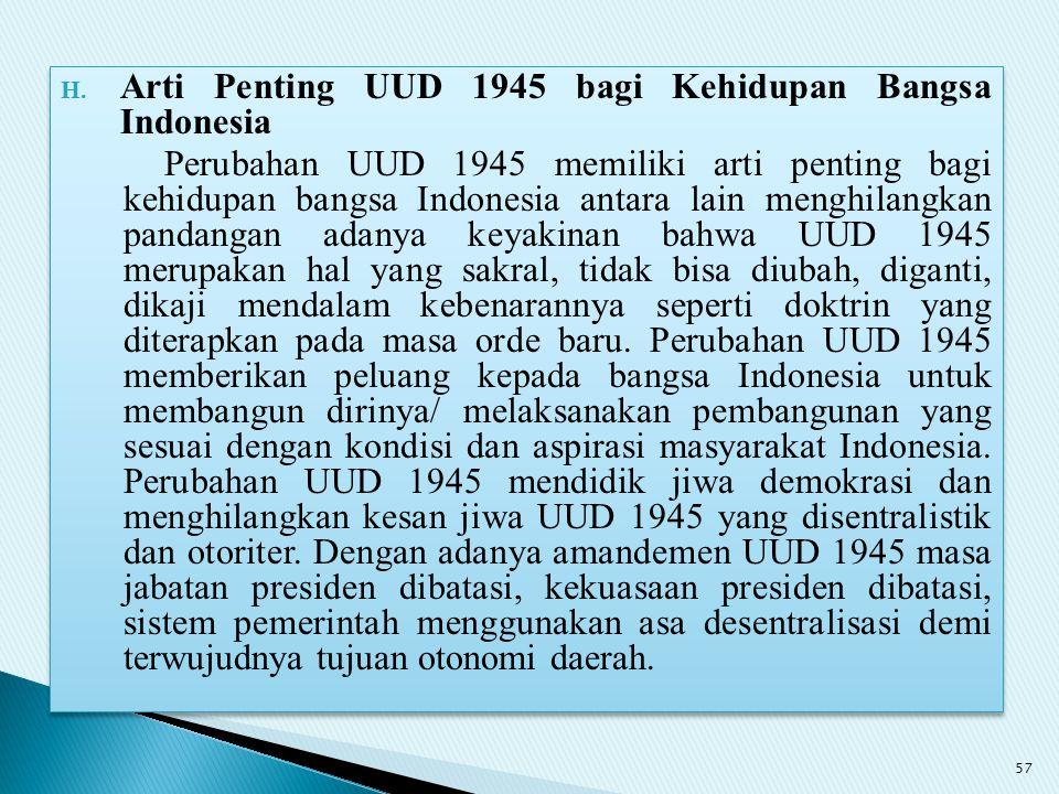 Arti Penting UUD 1945 bagi Kehidupan Bangsa Indonesia