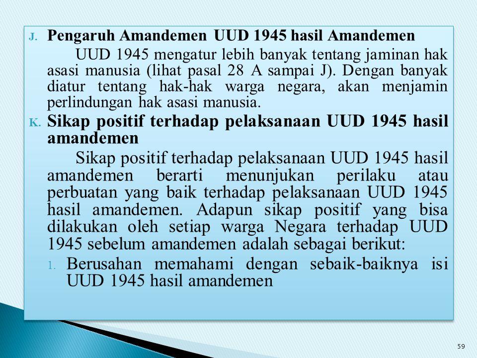 Sikap positif terhadap pelaksanaan UUD 1945 hasil amandemen