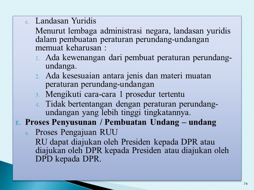 Landasan Yuridis Menurut lembaga administrasi negara, landasan yuridis dalam pembuatan peraturan perundang-undangan memuat keharusan :