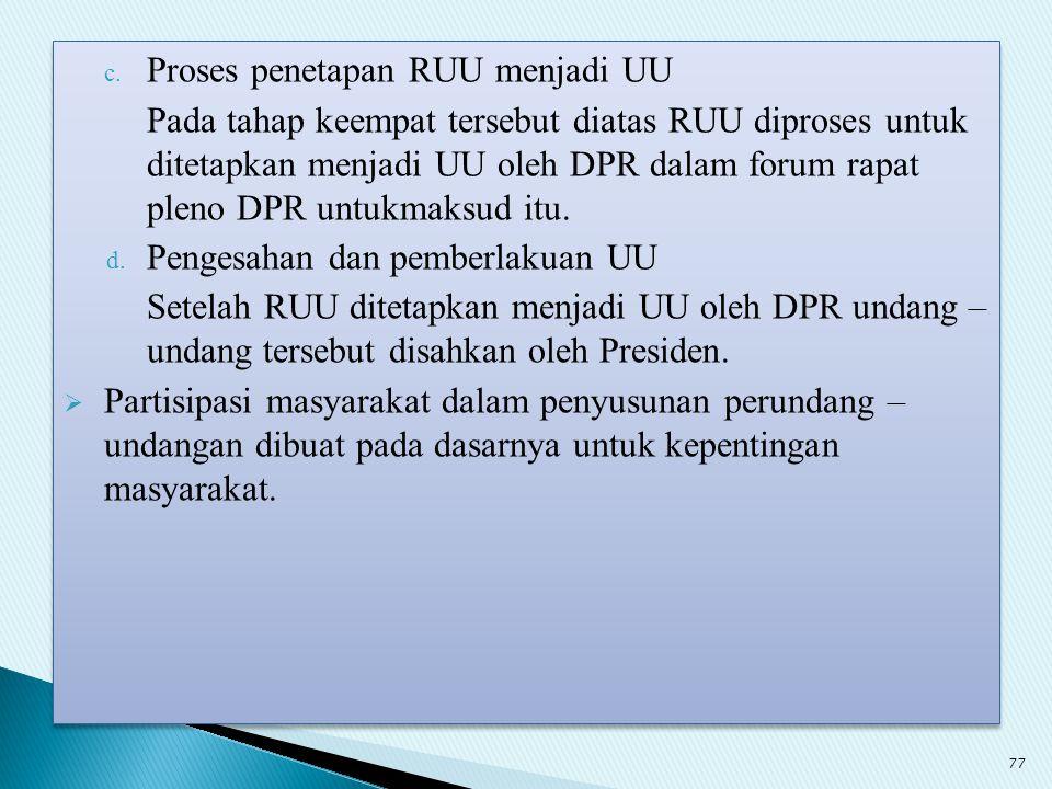 Proses penetapan RUU menjadi UU