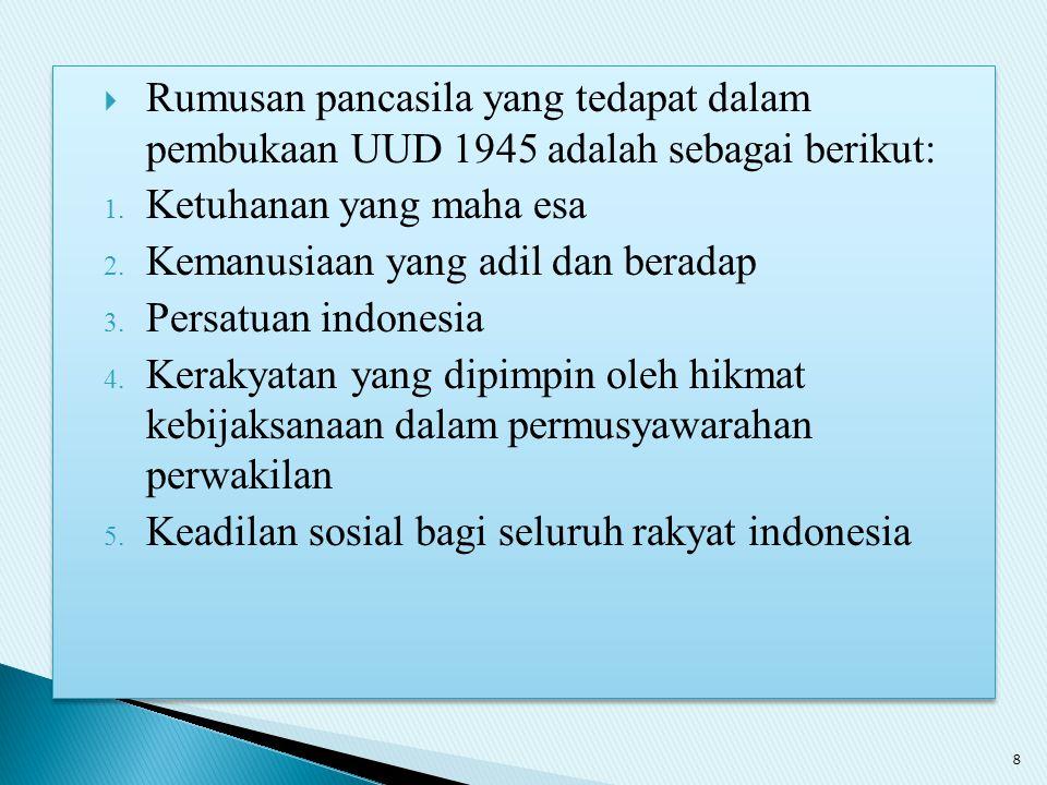 Rumusan pancasila yang tedapat dalam pembukaan UUD 1945 adalah sebagai berikut:
