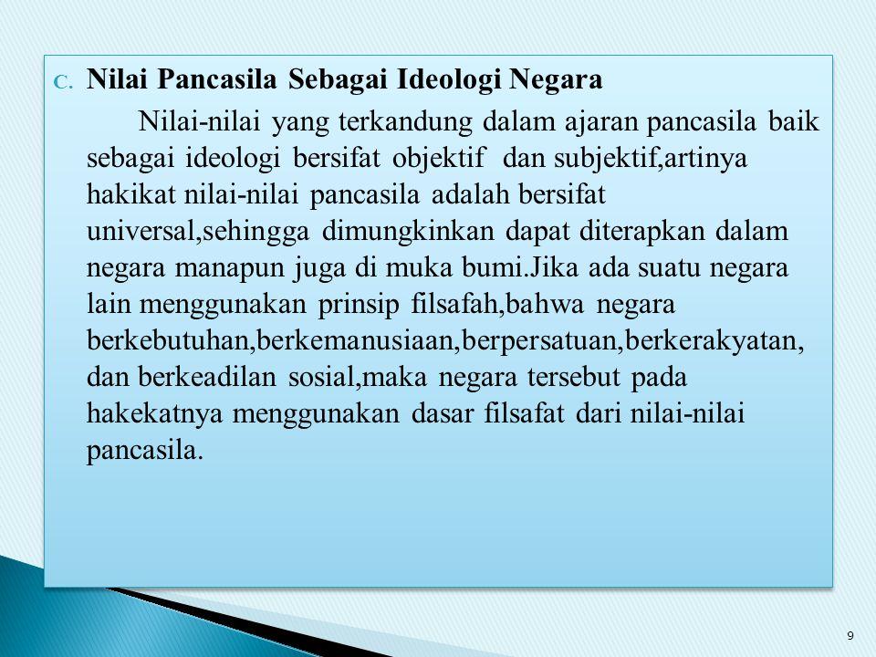 Nilai Pancasila Sebagai Ideologi Negara