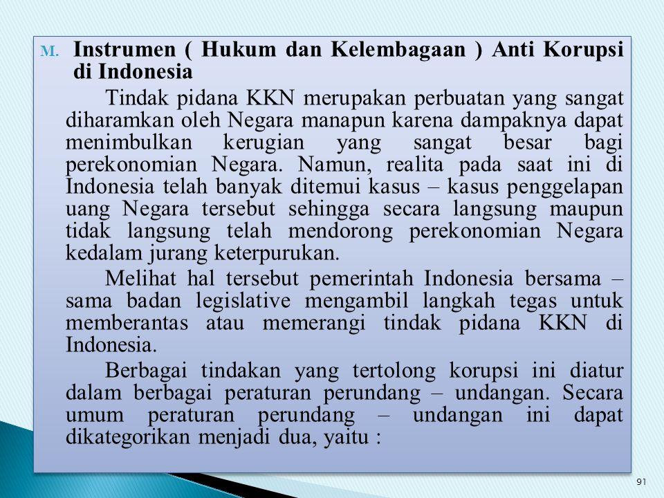 Instrumen ( Hukum dan Kelembagaan ) Anti Korupsi di Indonesia