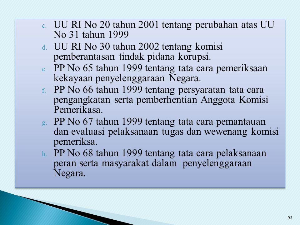 UU RI No 20 tahun 2001 tentang perubahan atas UU No 31 tahun 1999
