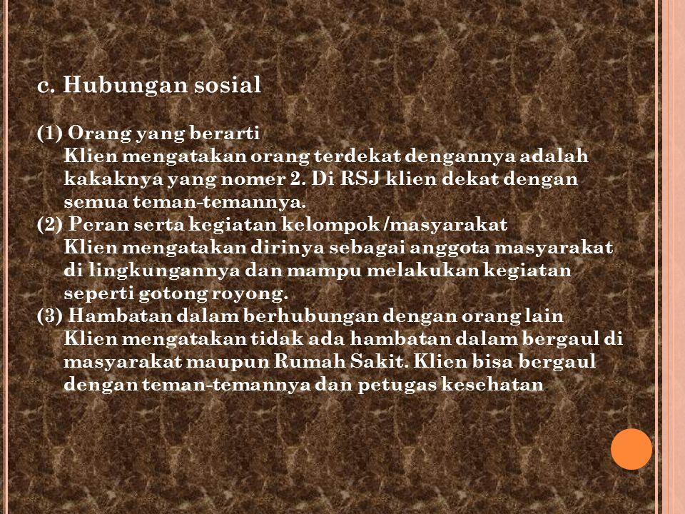 c. Hubungan sosial (1) Orang yang berarti